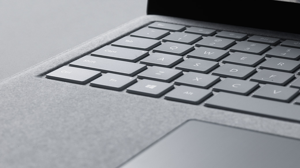 Surface Laptop showing Alcantara® fabric-covered keyboard.