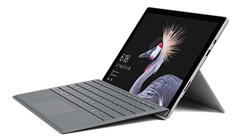 Surface Pro computer with with Surface Pro Signature Type Cover