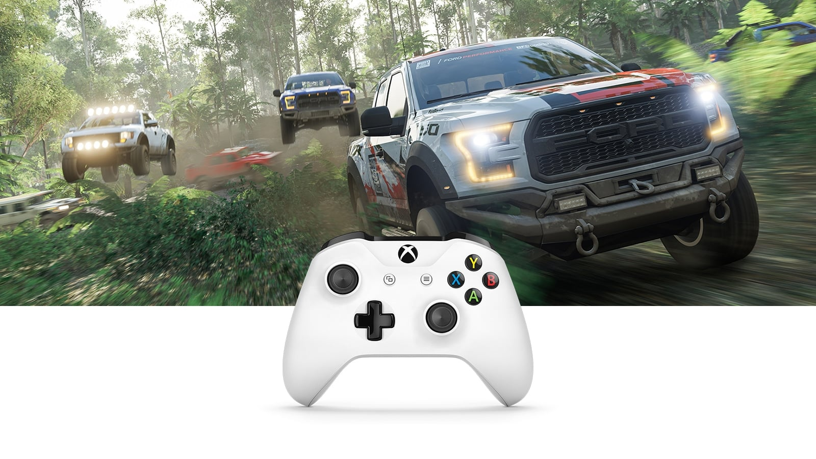Xbox One S controller facing front with image of trucks racing through a forest behind it