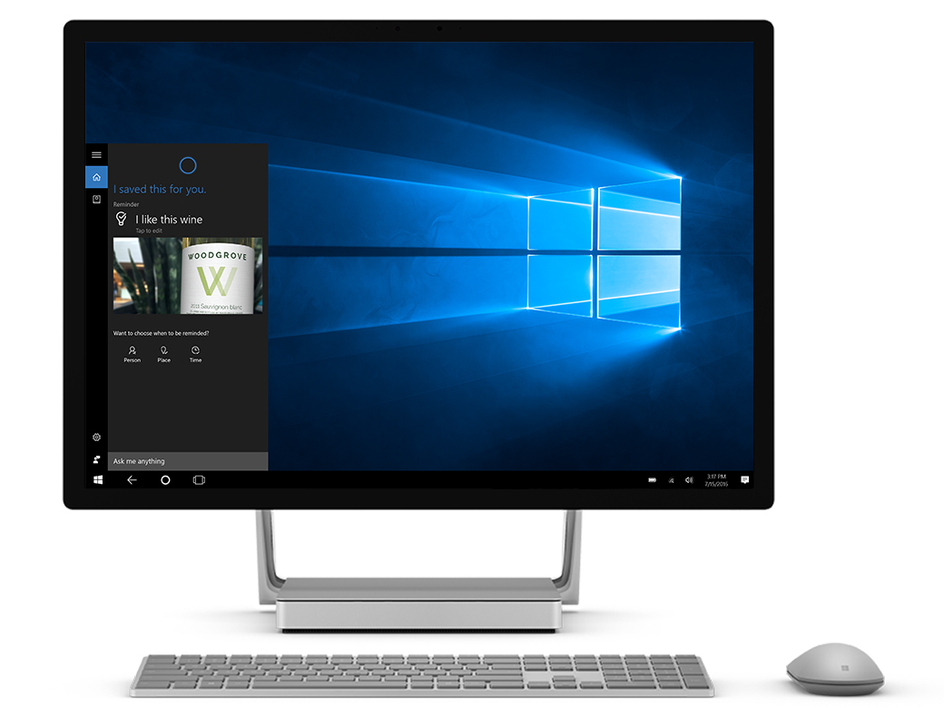Surface Studio facing front with Cortana active on the screen