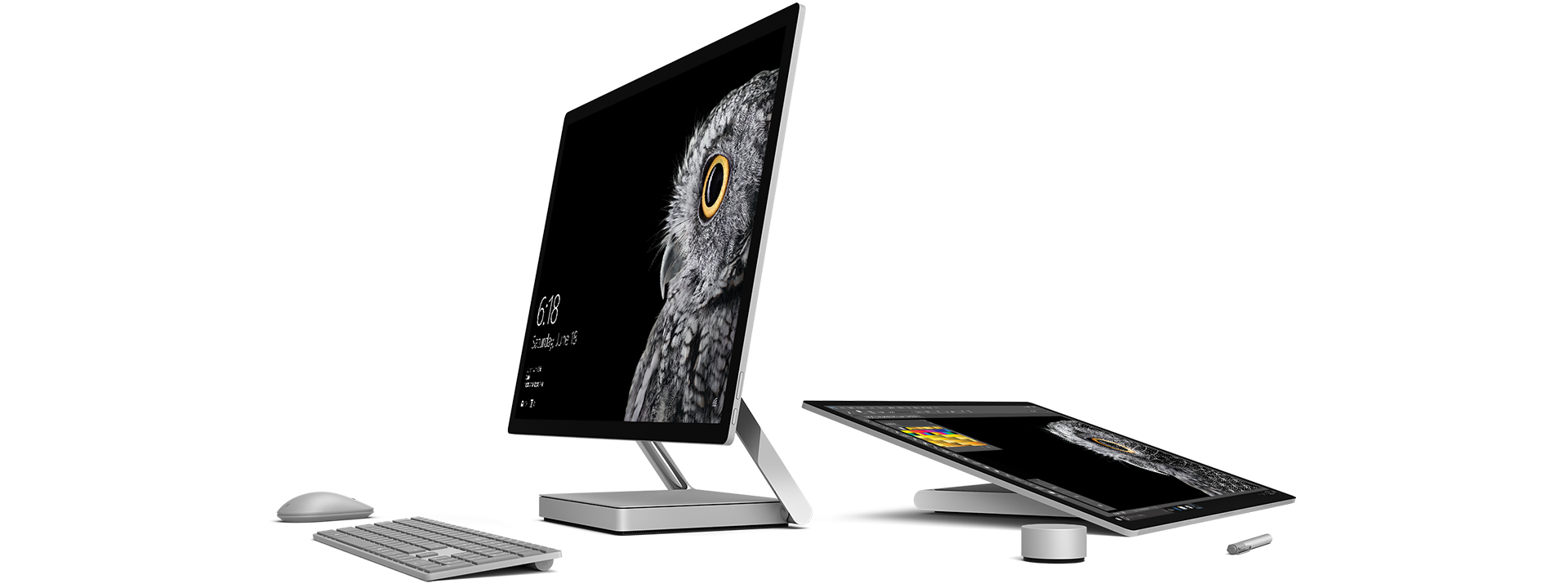Surface Studio shown in Studio mode and desktop mode