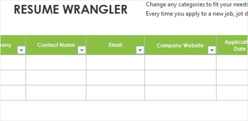 Resume Wrangler Excel spreadsheet showing fields for contacts, companies, and application information
