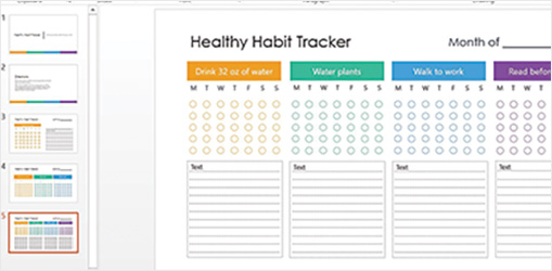 Healthy Habit Tracker PowerPoint slide showing list of healthy habits