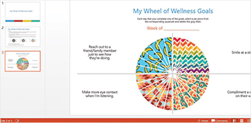 Wellness Wheel PowerPoint slide showing my wheel of wellness goals