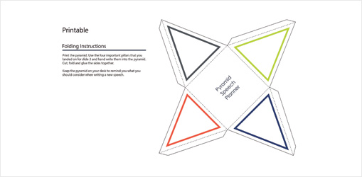 Pyramid Speech Pillars PowerPoint slide showing foldable pyramid template with instructions