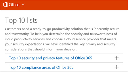 Compliance Solutions Office 365 Trust Center
