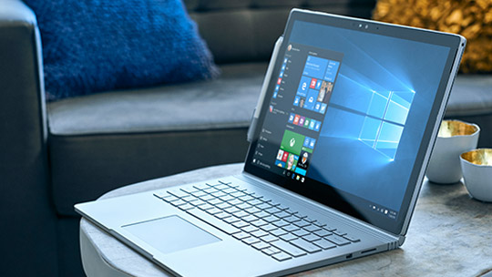 Microsoft Surface Book with Windows 10 start menu