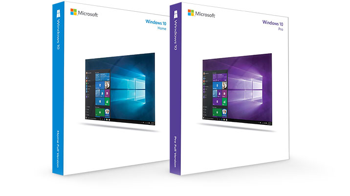 Windows 10 and Windows Pro software boxes