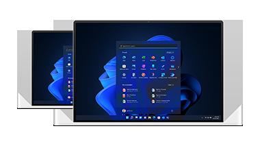 Two laptops displaying Windows 11 screens
