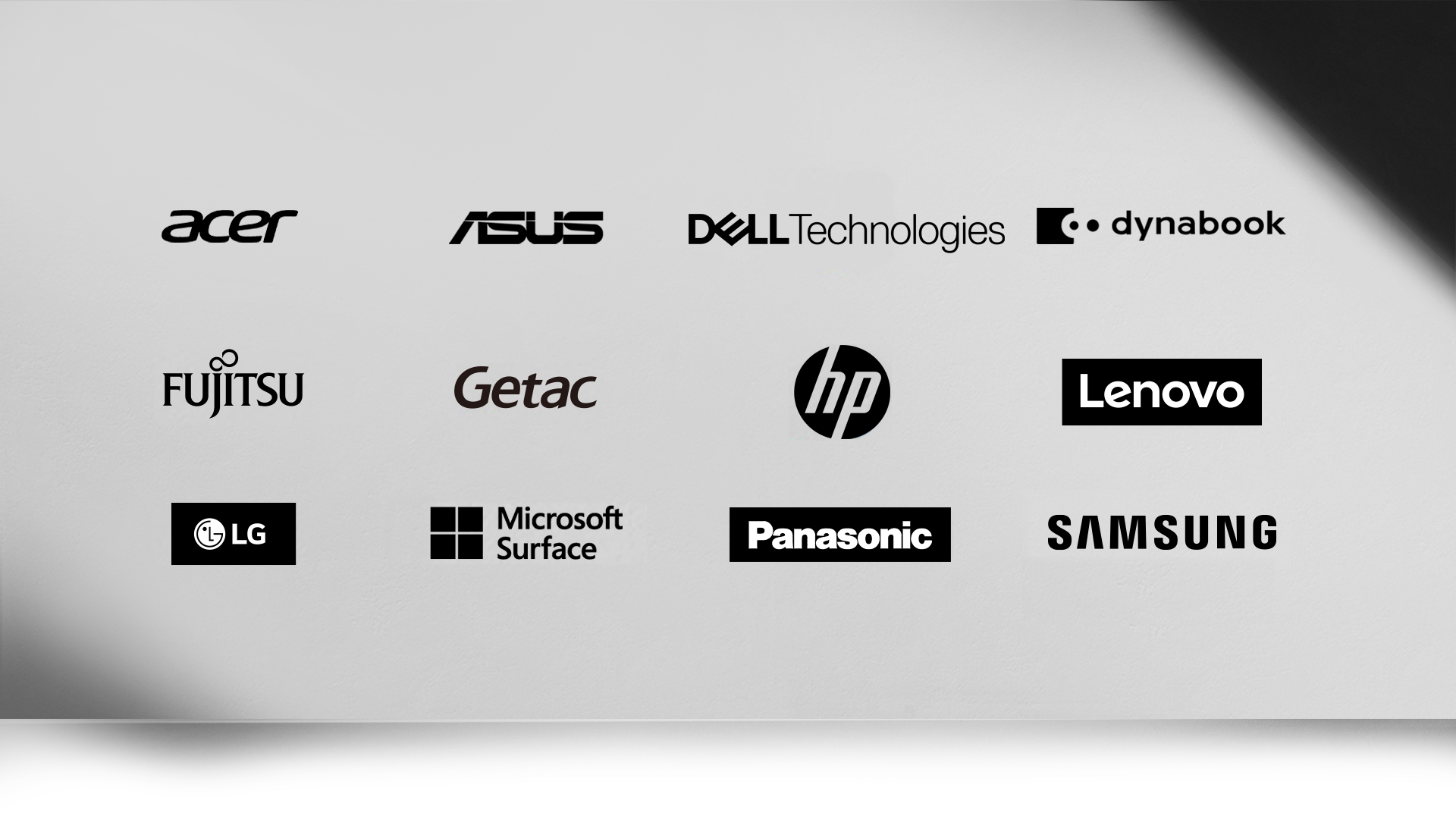 A collection of 12 logos for companies that manufacture Windows PCs