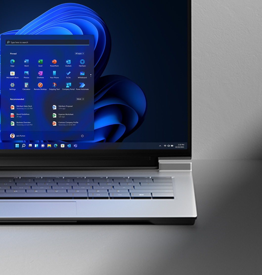 An PC displaying the Windows 11 start screen
