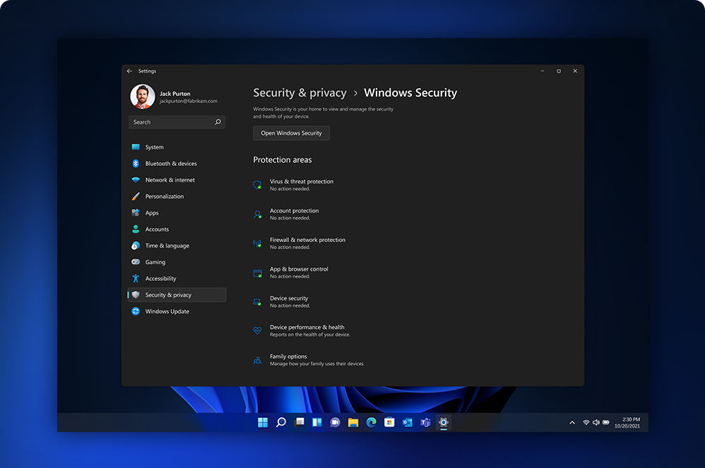 The Windows 11 security and privacy settings screen