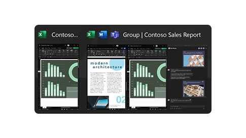 A screen displaying an example of the snap groups feature of Windows 11