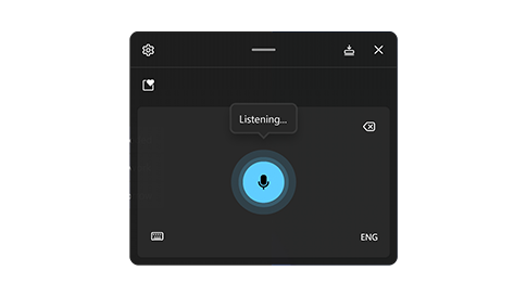 A screen displaying the voice typing functionality of Windows 11