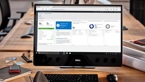 Windows Analytics dashboard on laptop screen