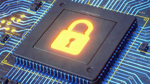 Highlighted lock symbol on circuit board
