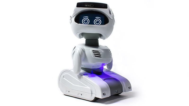 Small white robot with digital screen displaying eyes