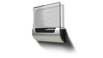 Wall mounted thermostat with a digital screen