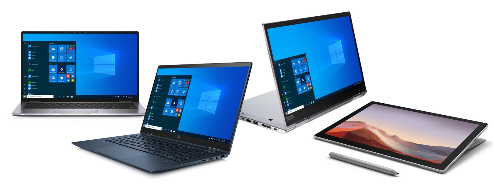 Four Windows 10 Pro devices at different angles