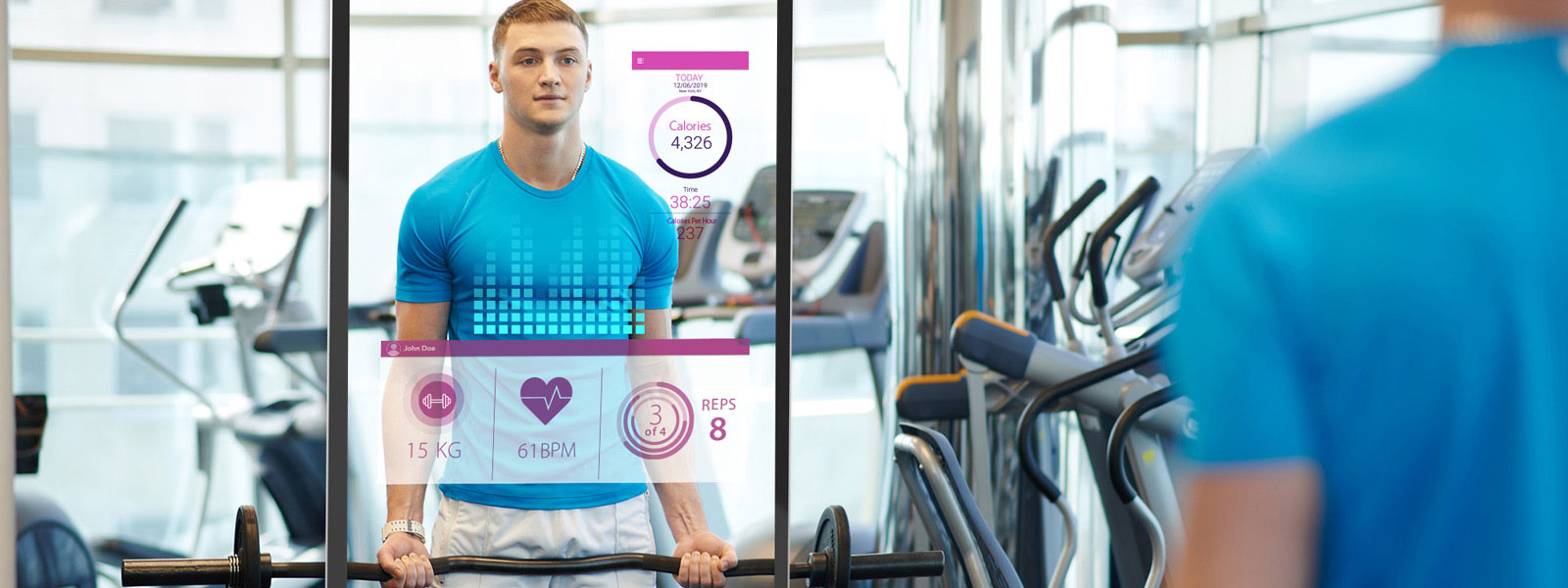 Man at gym lifting weights with vital sign overlay