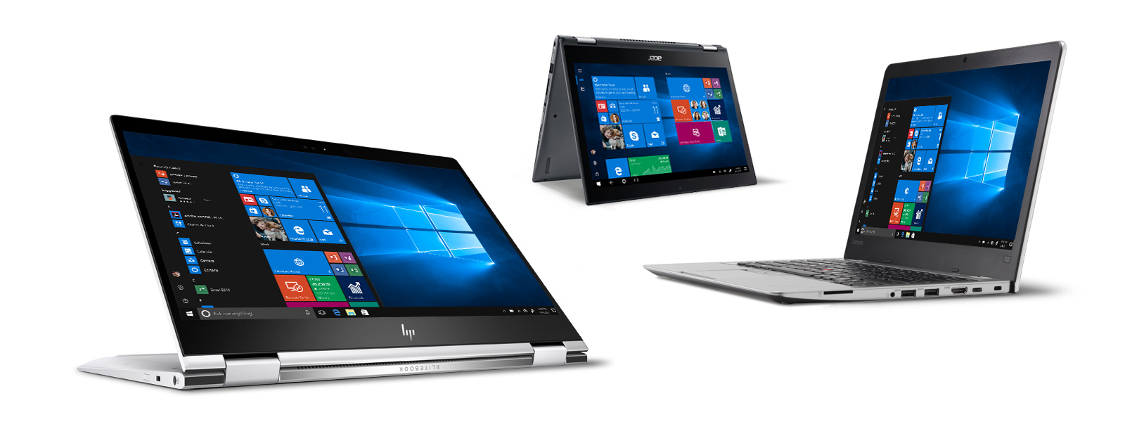 three laptop devices showcasing Windows 10