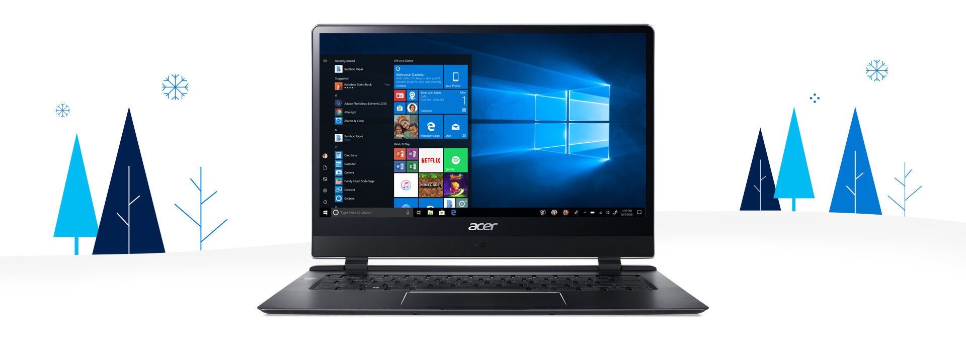 A Acer Swift 7 with a winter background around the device.