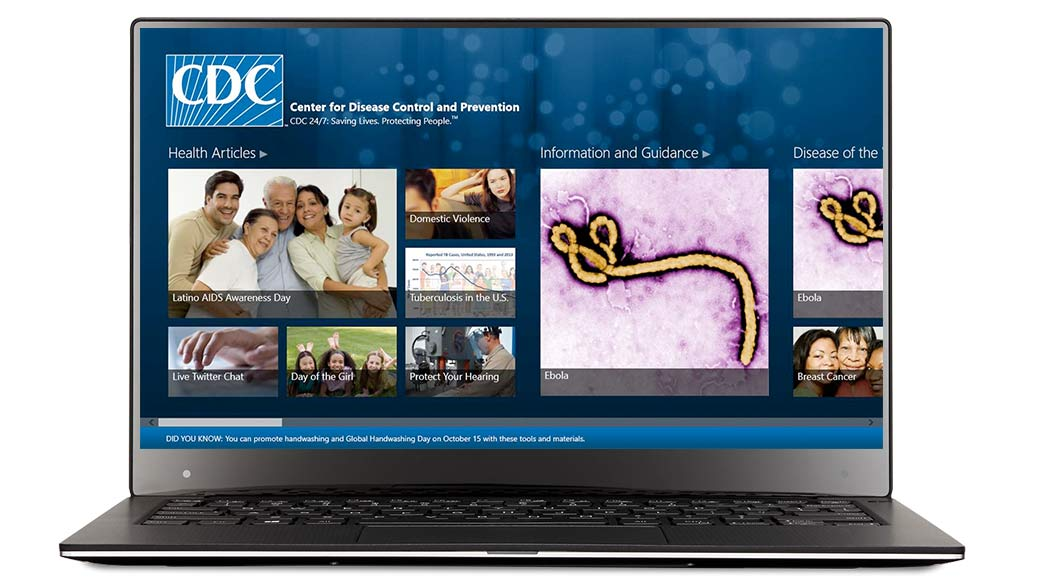 CDC Mobile App screen in a device