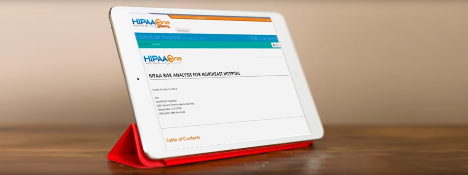 Tablet showing HIPAA guidelines