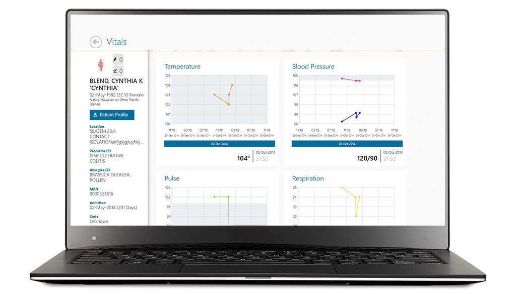 McKesson Paragon Clinician Mobile screen in a device
