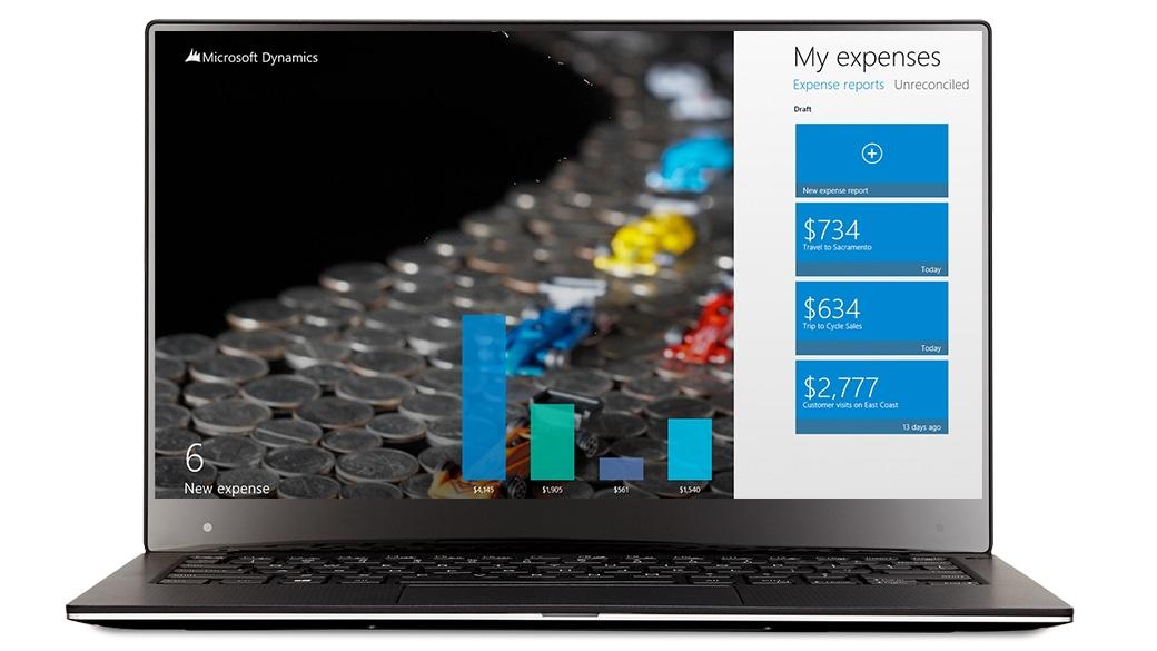 Laptop displaying Dynamics AX 2012 Expenses app