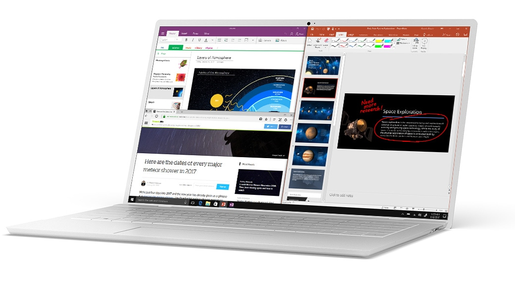 Windows 10 Snap on Microsoft Edge, OneNote and PowerPoint
