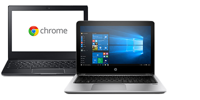 Chromebook and a Windows laptop running Windows 10 Pro