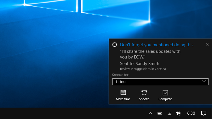 Cortana Showing a proactive reminder
