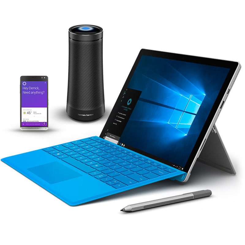 Family of Cortana devices including Surface Pro 4, Invoke speaker and mobile phone.