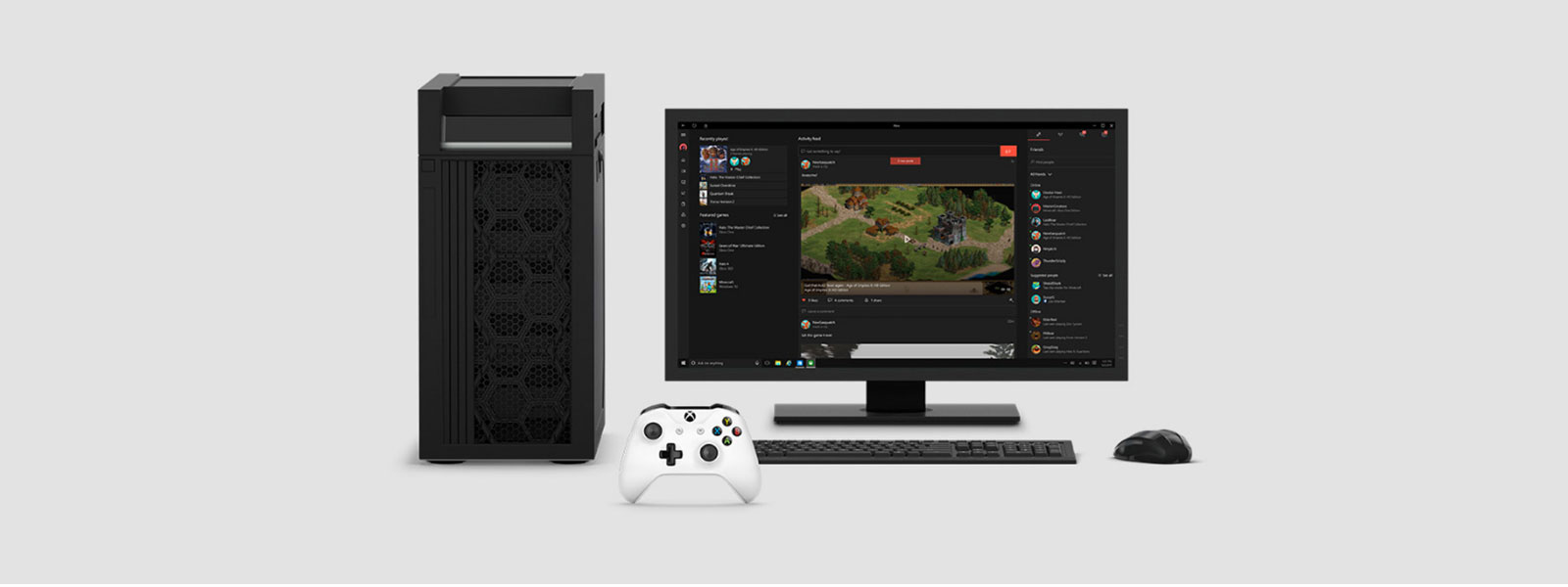 Gaming desktop with Xbox controller