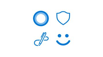 a circle for Cortana, a badge for Security, a pen for Windows Ink and a smiley face for Windows Hello images
