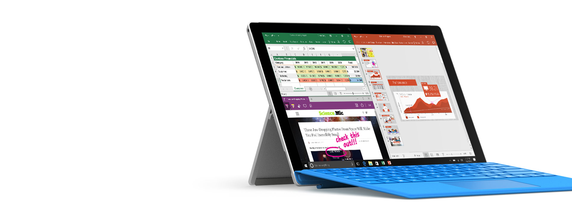 Surface Pro 4 with Office applications open on screen displaying inking capability