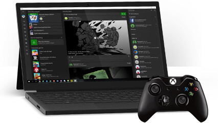 A Windows 10 PC showing the Xbox app on Windows and an Xbox controller