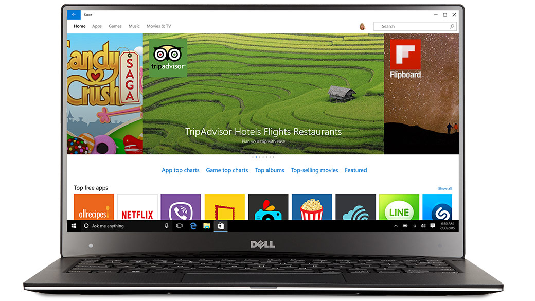 Dell laptop facing front with the Windows app Store on screen