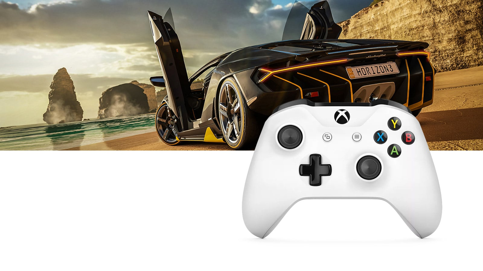 Xbox One S controller, as seen from the front with a gameplay image from Forza Horizon 3 behind it