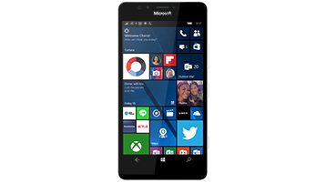 Microsoft Lumia phone with Windows 10 start screen