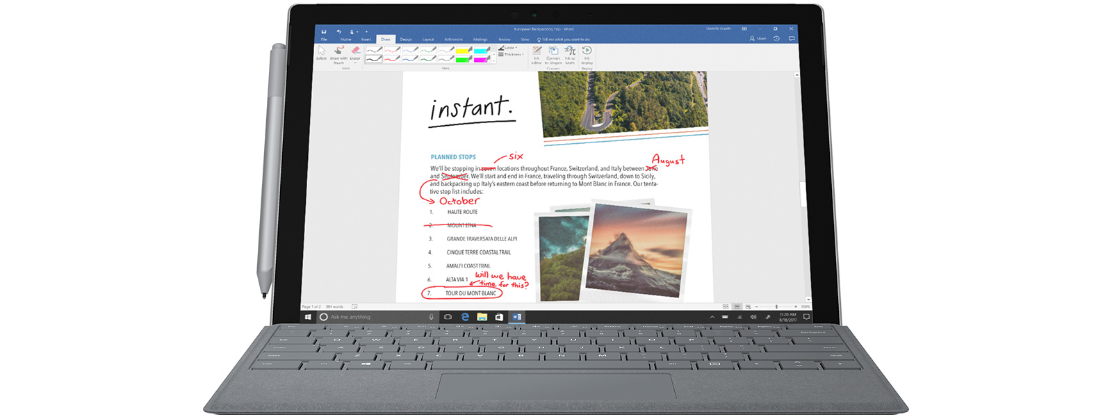 Windows ink office windows ink workspace sticky notes surface pro with windows ink in microsoft word pooptronica Choice Image