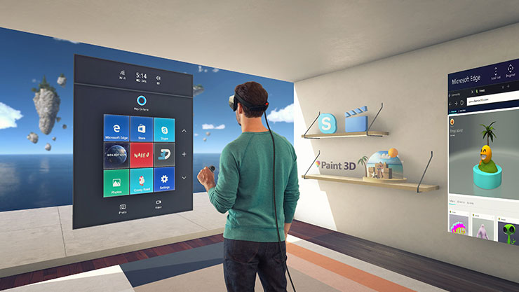 Man in room wearing HoloLens interacting with a holographic Cortana UI with holographic objects and application windows around the room