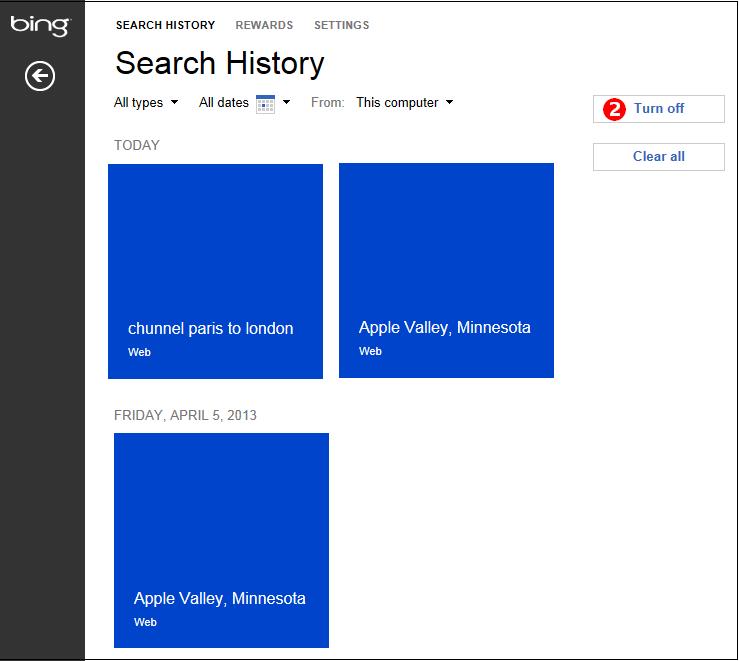 My Bing History: Privacy In Bing