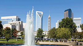 Charlotte skyline with a water fountain in the foreground