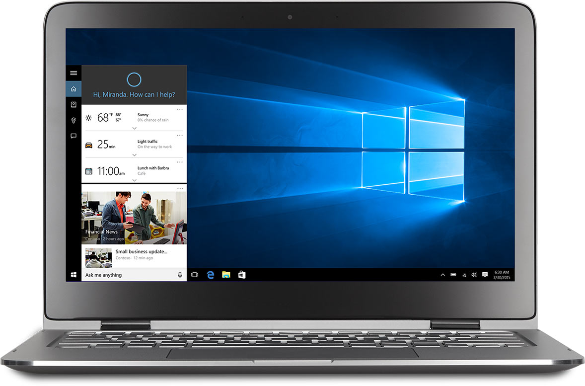 Close up views of PC screens with Microsoft Edge and Cortana on them