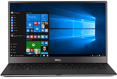 Dell XPS 13 with Windows start screen