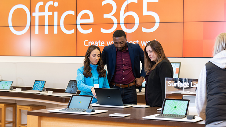 Customers at Microsoft Store.