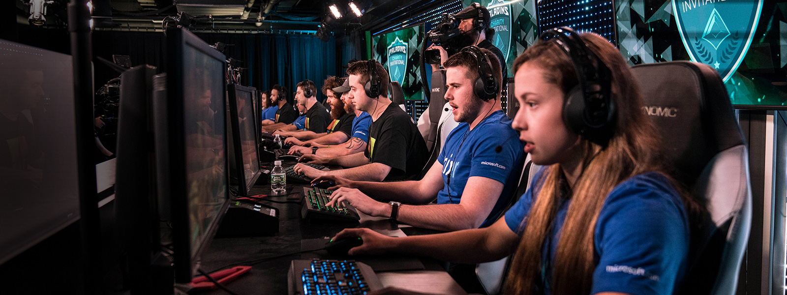 Row of gamers in action at the Esports and Gaming Studio.