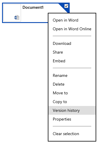 "Right-click on a document to see a menu which has the option ""Version history"""